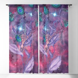 Space Flowers Blackout Curtain