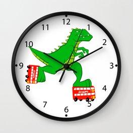 dinosaur riding roller skates. Wall Clock