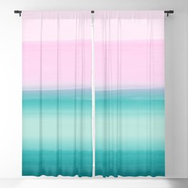 Touching Seafoam Teal Pink Watercolor Abstract #1 #painting #decor #art #society6 Blackout Curtain