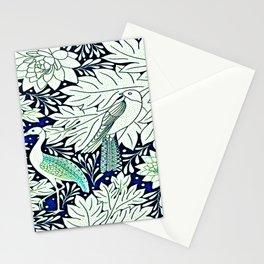 Art Deco Stork & Flora Navy  Stationery Cards