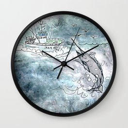 Fishing swordfish Wall Clock