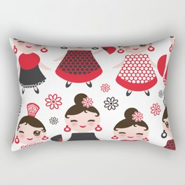 Seamless pattern spanish Woman flamenco dancer. Kawaii cute face with pink cheeks and winking eyes. Rectangular Pillow
