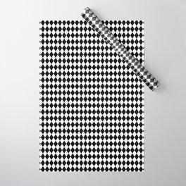 mini Black and White Mini Diamond Check Board Pattern Wrapping Paper