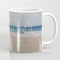 blankets Mugs featuring Let's Run Away | Sandy Beach, Hawaii by Leah Flores