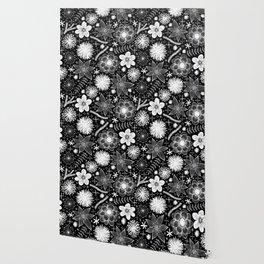 white flowers on black Wallpaper
