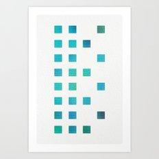 Missing Squares 2 Turquoise Art Print