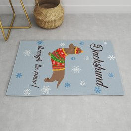 Dachshund through the snow - christmas jumper Rug