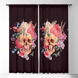 Floral Feather Crown Human Skull Bone Beautiful Flowers Black Background Blackout Curtain