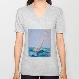 Sailboat Watercolor Unisex V-Neck