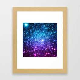 Glitter Galaxy Stars : Turquoise Blue Purple Hot Pink Ombre Framed Art Print