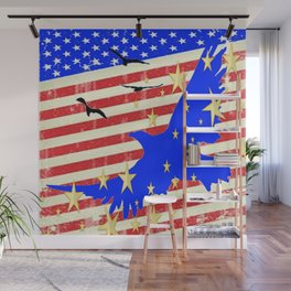 JULY 4TH PATRIOTIC BLUE EAGLE & STARS Wall Mural
