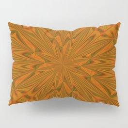 Autumnal Leaves Red Green and Amber Abstract Kaleidoscope Pillow Sham