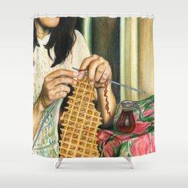 Knitting Waffles Shower Curtain