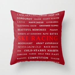 Ski Racing Burgundy Throw Pillow