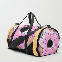 Pink Donut on Black Duffle Bag