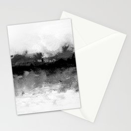 grayscale abstract painting Stationery Cards