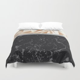 Cafe Au Lait Flower Meets Gray Black Marble #2 #decor #art #society6 Duvet Cover