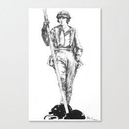 "Vintage Illustration ""Outdoor Sportswoman""  Canvas Print"