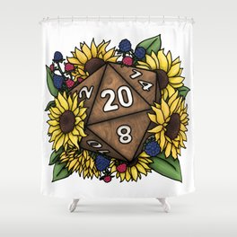 Sunflower D20 Tabletop RPG Gaming Dice Shower Curtain