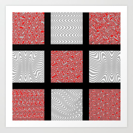 Red and Gray Waves Art Print
