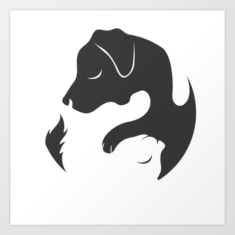 Yin Yang Dog Cat Couple Matching Cartoon Shirt Men Womens Art Print By Born Design Society6