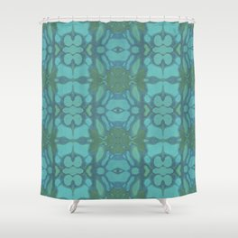 Evergreen and Aqua Nouveau Pattern Shower Curtain