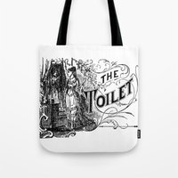 toilet Tote Bags featuring The Toilet by Bramble & Posy