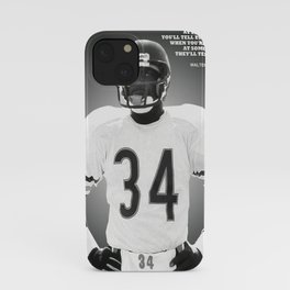 Walter Payton poster, canvas, Chica-go Bears, Wall Art Decor, Gym, Home Living, Bedroom, kids, gift, Office Decorations, man-cave with quote iPhone Case