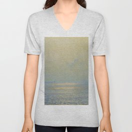 'Calma,' Rays of Sun reflecting on calm ocean waters seascape painting by Giorgio Belloni Unisex V-Neck