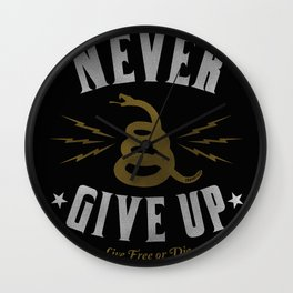 Never Give Up / Gold Wall Clock