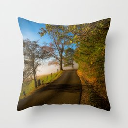 Smoky Morning - Whimsical Scene in Great Smoky Mountains Throw Pillow