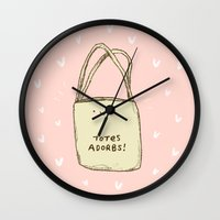totes Wall Clocks featuring Totes Adorbs! by Sophie Corrigan