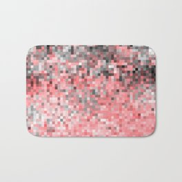 Coral Pink Gray Ombre Pixels Bath Mat