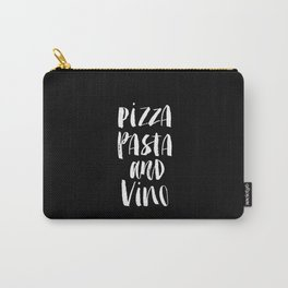 PIzza Pasta and Vino black and white kitchen typography poster minimalism home room wall decor Carry-All Pouch