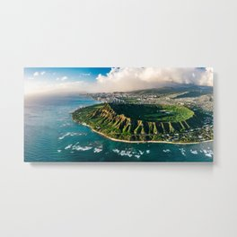 Diamond Head Aerial Panoramic Metal Print