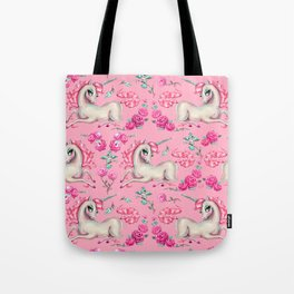 Unicorns and Roses on Pink Tote Bag