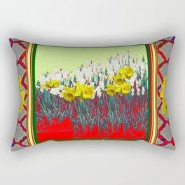 DECORATIVE RED-GOLD WHITE DAFFODIL GARDEN  ART Rectangular Pillow