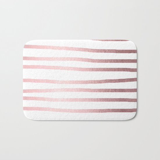 Simply Drawn Stripes Rose Quartz Elegance Bath Mat
