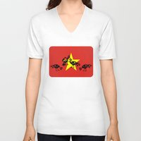 vietnam V-neck T-shirts featuring Vietnam Flag, Roosters Sparring by mailboxdisco