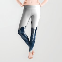 Seattle Skyline Watercolor Navy Blue by Zouzounio Art Leggings