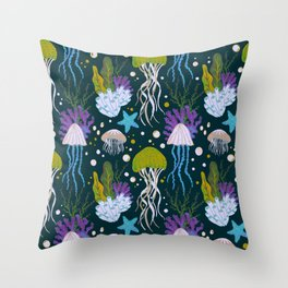 Jellyfish Dreams in Lime Green Throw Pillow