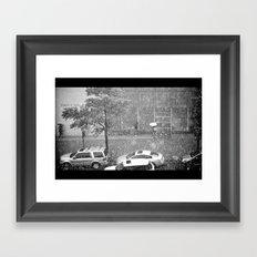 Rainy NYC Sidewalk Framed Art Print