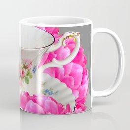 FLORAL TEA CUP & PEONY FLOWERS YELLOW ART Coffee Mug