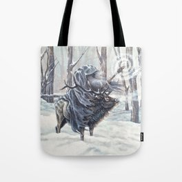 Wizard Riding an Elk in the Snow Tote Bag
