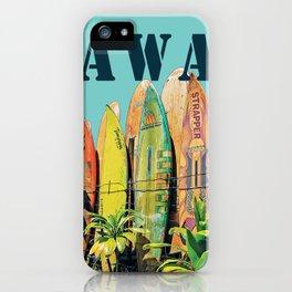 Hawaiian Surfboard Postcard Print iPhone Case