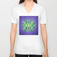 globe V-neck T-shirts featuring globe by Katilinova