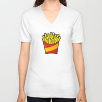 french fries V-neck T-shirts featuring French Fries by Sifis