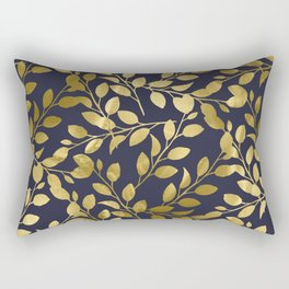 Gold Leaves on Navy Rectangular Pillow