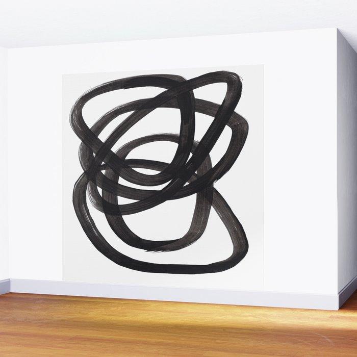 Black And White Minimalist Mid Century Abstract Ink Art Circle Swirls Black Circles Minimal Wall Mural