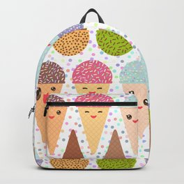 Kawaii mint raspberry chocolate Ice cream waffle cone with pink cheeks and winking eyes Backpack
